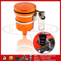 K025 CNC Universal Orange Aluminum Motorcycle Scooter Brake Fluid Reservoir Oil Cup Front Brake Clutch Sport Street Dirt Bike