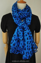 Fashion leopard animal print polyester voile scarf