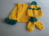 jacquard the knitted set for the scarf and hat and glove of the children