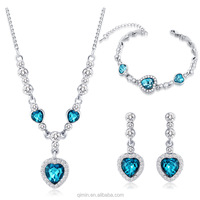 New best selling wihte gold plated The heart of the blue ocean jewelry sets