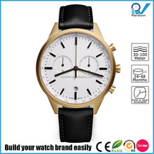 PVD satin gold case 316L stainless steel case scratch-resistant sapphire glass 5ATM waterproof swis movement men watch