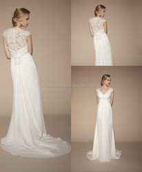 2014 High Quality Ivory Short Sleeve Vintage V-Neck Covered Button Applique Maternity Chapel Train Bridal Wedding Dresses Gowns