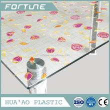 plastic soft glass for table cover with transfer printed beautiful designs