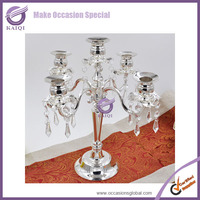 k7496 silver Votive beaded crystal Candle Holder With Metal Stand