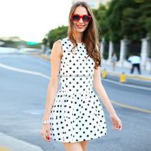 HJL-C1037 Veri Gude 2015 Summer new Korean cotton polka dot women's sleeveless dress