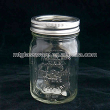 Machine made clear round mason jar without handle , food grade nuts jar