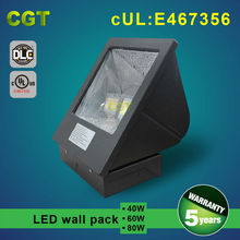 UL DLC listed outdoor wall mounted led wall pack lights, 40w 60w 80w IP65 led wall pack
