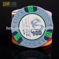 10 Gram Ceramic Poker Chips With Lucky Dragon Debossed Design