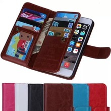 detachable leather case 9 card slots flip leather case for iphone 6 plus