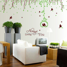 Free Shipping 2PCS/Set Large New Removable PVC Rattan Tree Always Loving You Wall Stickers Love Bird for Living Room XY1061