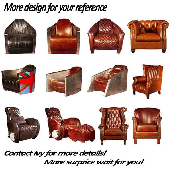 Amerikaanse stijl antieke volledig echt leer fauteuil single seater sofa zit woonkamer stoelen - Eetkamer leunstoel ...