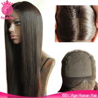 8A grade 24inch long black best virgin peruvian human straight hair silk top full lace wig