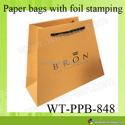 WT-PPB-848 luxury glossy art paper bag with emboss logo