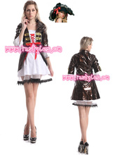 Walson carnival instyles Ladies Black Brown Leather Pirate Fancy Dress Costume Womans Outfit manufacturers sex xxl lingerie