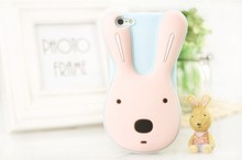 2015 wholesale custom animal rabbit ear silicone mobile phone case for iphone 5