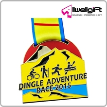 Dingle Adventure Race 2015 Zinc Alloy Die Cast Color Medal with polyester landyard
