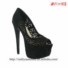 XLYD76 black fish toe sandal high heel suede women sandal