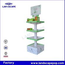 Folding Corrugated cardboard display pallet in Supermarket for cosmetic promotion