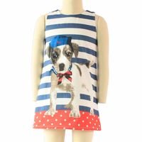 Free Shipping Child Dress Girls Clothes Summer Striped Puppy 100% Cotton Sundress
