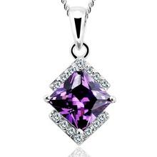 OUXI fashion amethyst 925 sun silver cz necklace Y30151