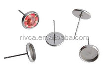 fashion Metal stainless steel stud earring base for flat back