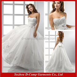 WD-1204 Strapless scoop neckline flowing tulle ball gown suzhou wedding dress from china wedding dress