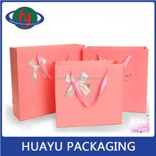 Promotion printing custom paper gift handle paper bag(HY)