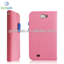 New design leather flip case for samsung galaxy note 2