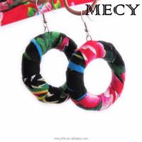 MECY LIFE 2015 hot sale custom digital print fabric fabric earrings