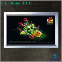 2015 Hot sales Click snape frame led backlit beer picture advertising light boxes