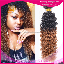 Wholesale Ombre Kinky Twist Colored Two Tone Hair Weave, kinky afro curl ombre hair extension