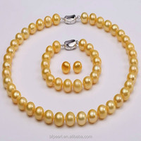 11-12mm Cheap Natural Pearls Necklace Bracelet and Earrings Set