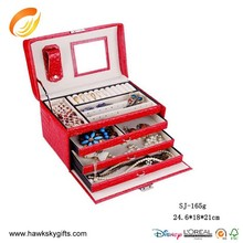 Hot sale red leather jewelry box fashional wooden jewelry box case manufacturer