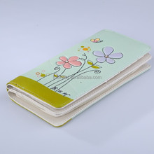 New Model Ladies Purses/Fashion Wholesale Green Flowers Printing Woman Wallet/Festival gift