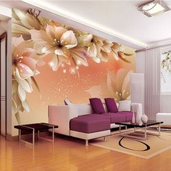 Large 3D floral stereoscopic murals TV background wallpaper bedroom living room non-woven wallpaper