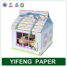 Promotional paper box fancy cupcake packaging box houese shape design cupcake boxes wholesale