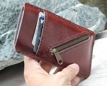 Mini clay brown genuine cow leather phone wallet with cross mini zip
