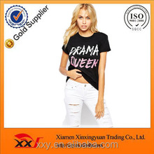 Hot sale 95 cotton /5 elastane t-shirt customized woman t-shirt clothing manufacturers