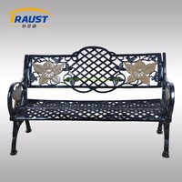 European grange style steel park bench with backrest