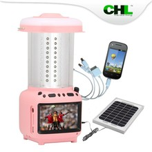 2015 new CHL halogen camping lantern replacement with cell phone charger, TV, fm radio