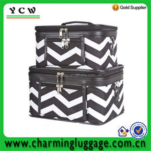 Traveler Black Chevron Makeup Train Case 2-piece Cosmetic Set