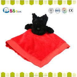 Lovely plush dog l2015 new hot sales the black dog face cloth