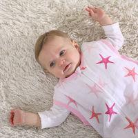 LAT organic cotton sleepsack summer infant muslin blanket newborn baby sleeping bag
