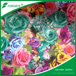 Hot sale Middle East 100% polyester TC backing velour printed floral upholstery fabric