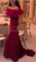 2015 Fashion Saudi Arabia Burgundy Mermaid Prom Gown Off Shoulder Ruffle Sleeve Elegant Tropical Evening Dresses for Wedding