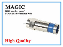wholesale good quality RG6 weather proof F-pin quad connector blue