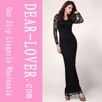 wholesale fashion Black Lace Long Sleeves Maxi Dress online uk
