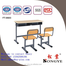 school furniture double or single student desk and chair moulded panel Werzalit table