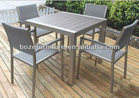 New products!! Brushed garden furniture table chair plastic wood / polywood furniture dining set