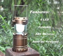 (160364) Handheld mini outdoor ABS 3*AAA telescopic rechargeable 6led solar camping lantern